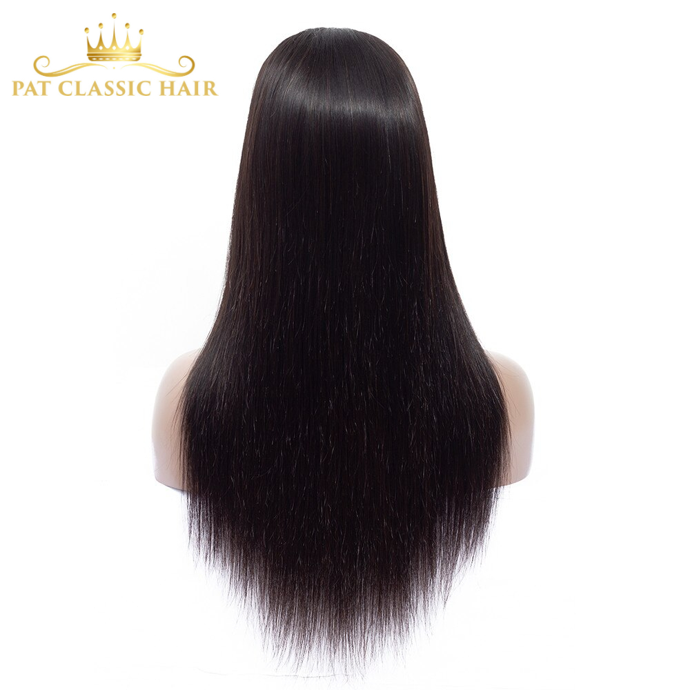Amanda Remy Human Hair Lace Closure Wigs Pre Plucked Hairline 150% Density Straight Peruvian Hair Wigs for Black Women 4x4 Inch