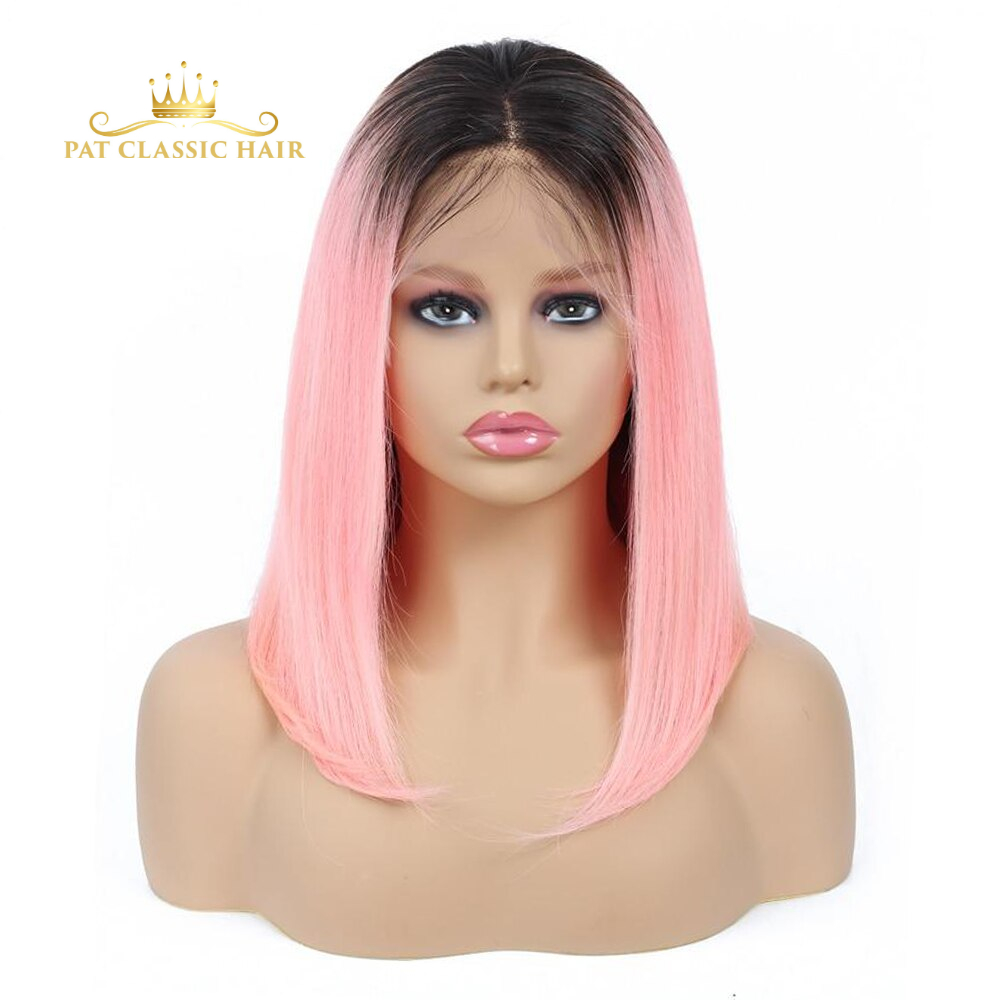 AOSUN HAIR 150% Ombre Straight Short Bob Wigs Human Hair 13X4 Pre Plucked Color 1b/Pink Bob Lace Front Wigs For Black Women Remy