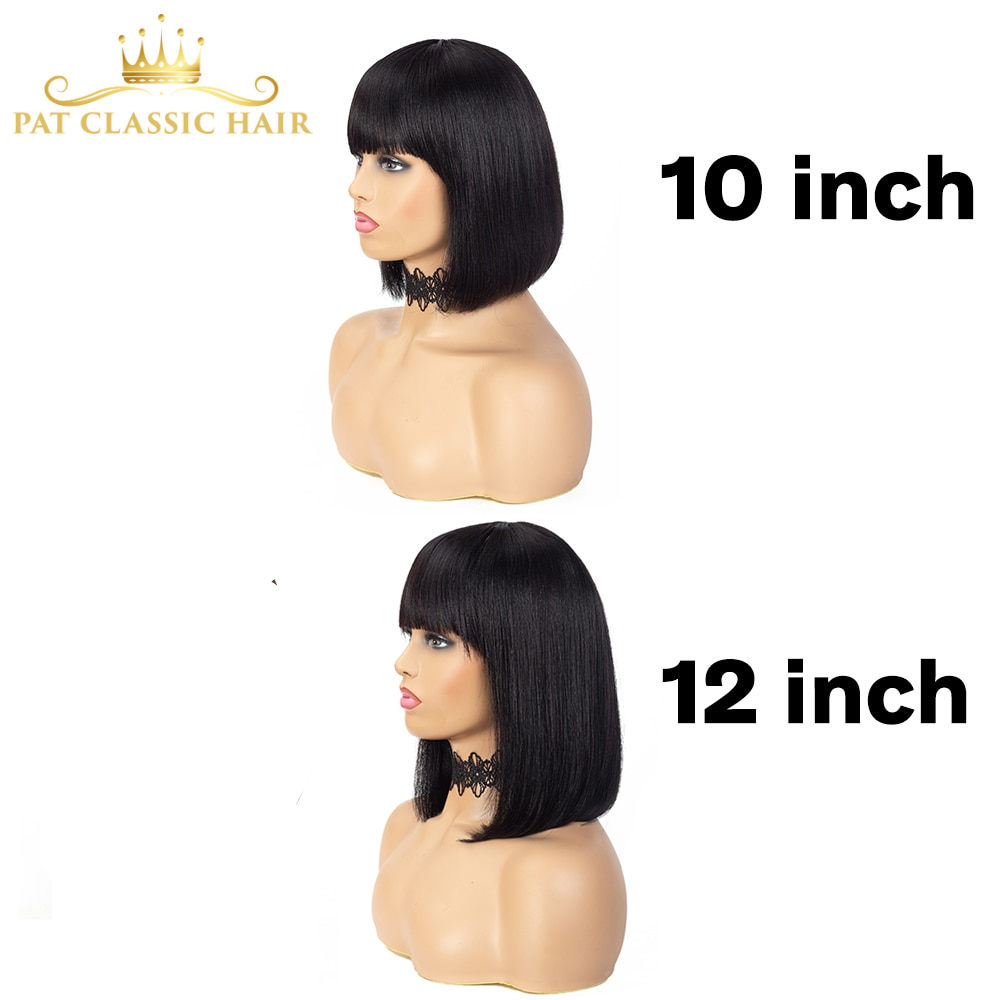 Short Human Hair Wig with Fringe for Women Straight Remy Hair Bob Wigs With Bangs Dark Brown Balayage Highlight Color