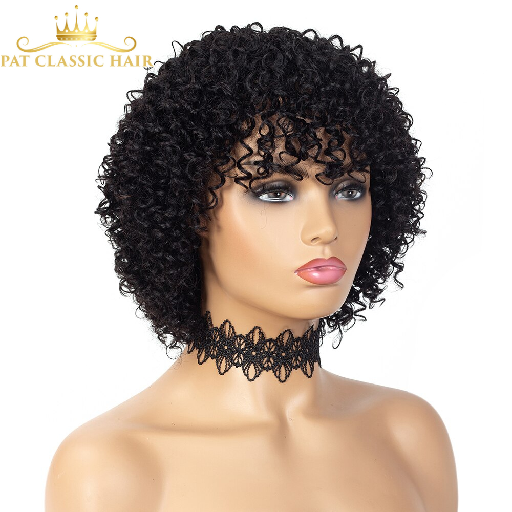 SSH Short Deep Curly Wave Cheap Wigs for Black Women 100% Remy Hair Human Hair Wigs with Bangs Full Machine Made Wig Ombre Color