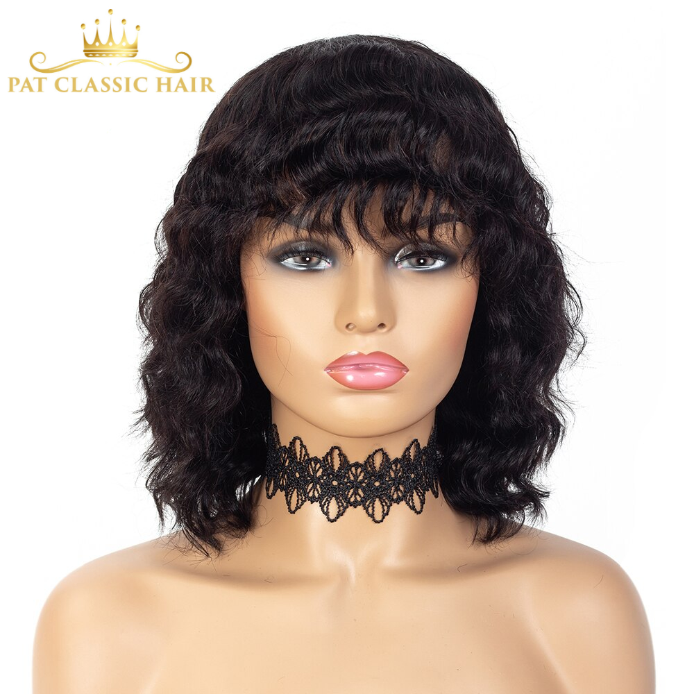 SSH Loose Curly Wave Short Bob Wig with Bang Fringe Brazilian Remy Hair for Black Women Balayage Highlight Ombre Color Cheap Wig